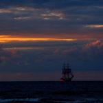 Żaglowiec, sailing boat, sailing, sunset, sunrise, dark