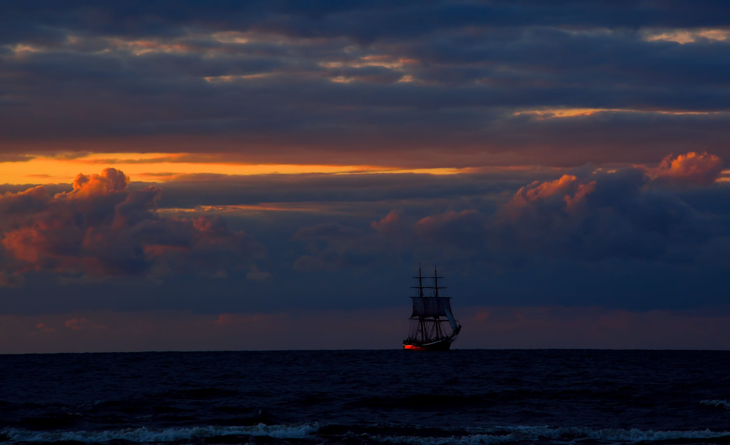 Żaglowiec, sailing boat, sailing, sunset, sunrise, dark