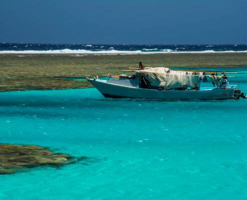 Fishing boat, sea, red sea, reef, water, blue