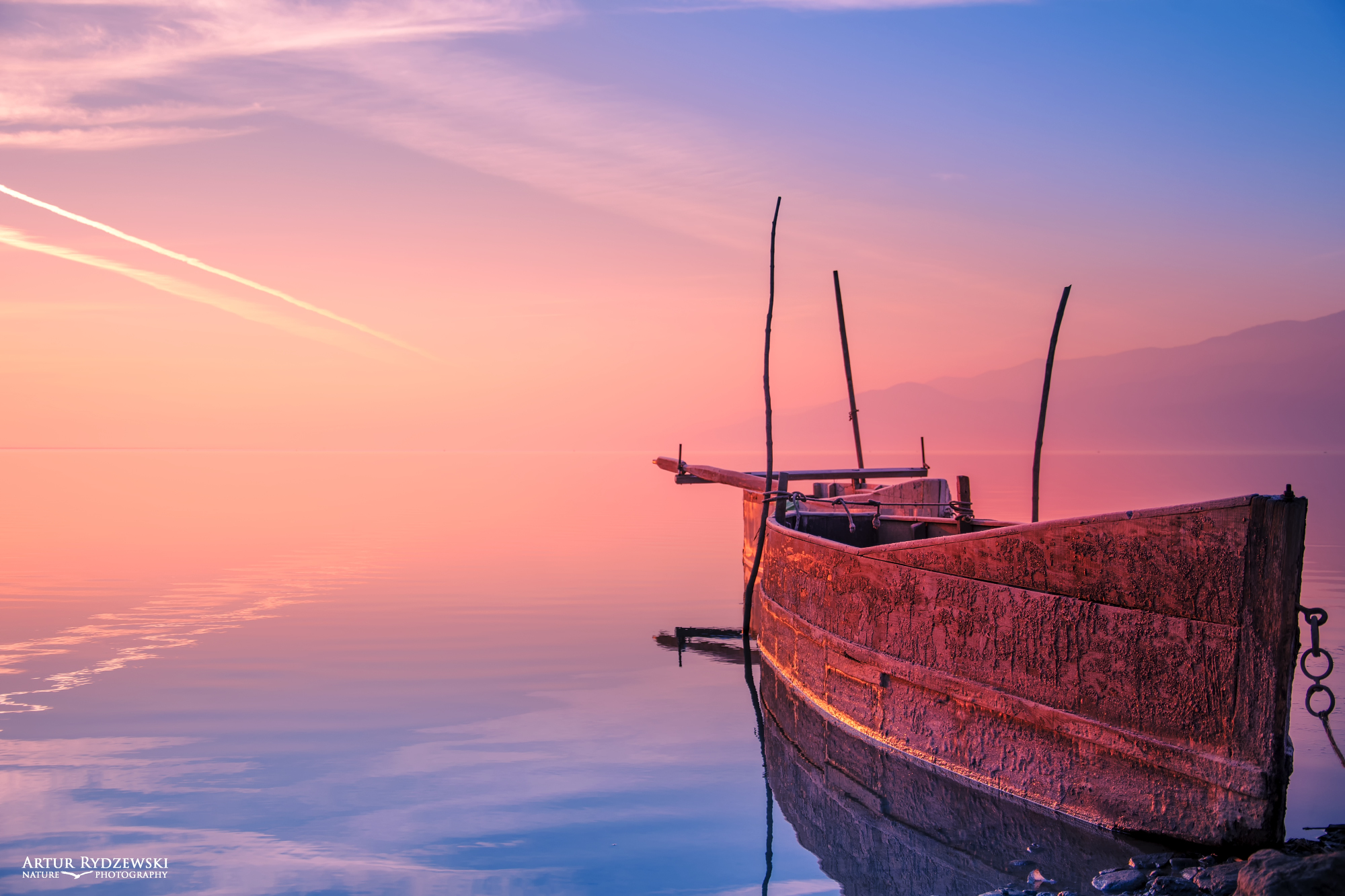 old boat sunrise sunset clouds calm landscape waterscape water lake river