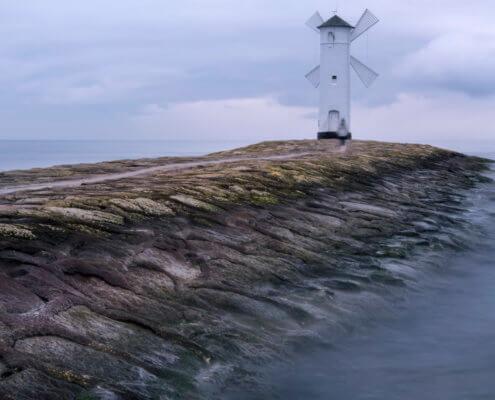 Świnoujście, swinemunde, windmill, stawa młyny, sea baltic sea, stones, water, plaża
