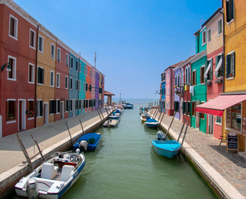 Burano, Burano island, Italy, colorful houses, canal, sea, boats, tourst attraction, tourists, old, summer, Włochy