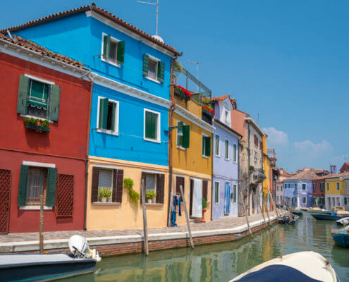 Burano, Italy, colorful houses, canal, boats, tourst attraction, tourists, old, summer, Włochy
