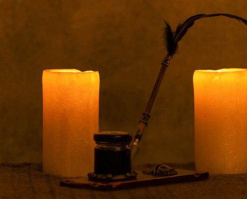 Świece, stare świece, pióro do pisania, atrament, stare pióro do pisania, stalówka, światło świec, światło, light, old