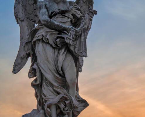 Ponte Sant'Angelo , Pons Aelius, Bridge of Hadrian, Vatican, Rome, angel, bird, old, evening, orange sky, bridge