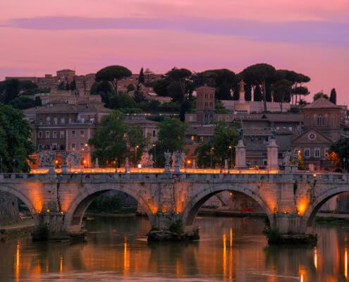 Ponte Sant'Angelo , Pons Aelius, Bridge of Hadrian, Vatican, Rome, river, bridge, old bridge, bridge in Rome, old, Angels, lights, evening