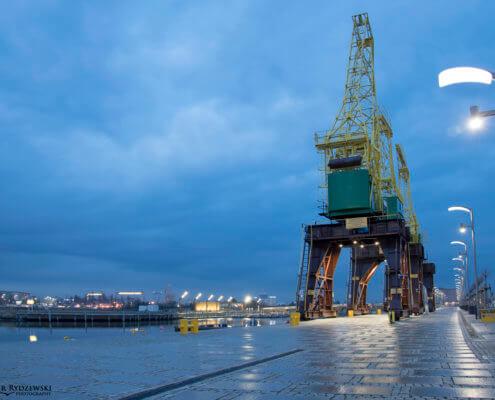 Stettin, Cranes in Stettin, Szczecin, dźwigozaury, dźwig, dźwigi, crane, evening, night, light