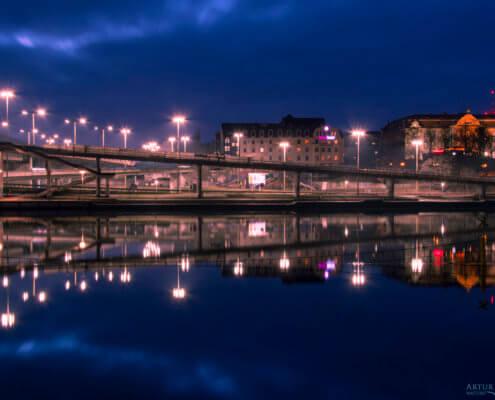 Wały Chrobrego, Szczecin, Stettin, Stettin by night, Szczecin nocą, river, Odrs, oder, lights, night