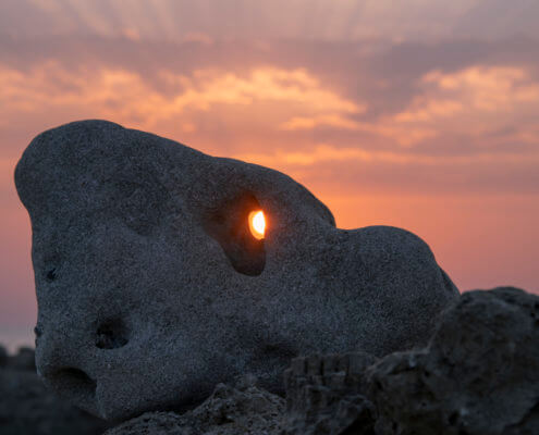 Stone sun sunrise sunset, hole, hole in the stone, sky