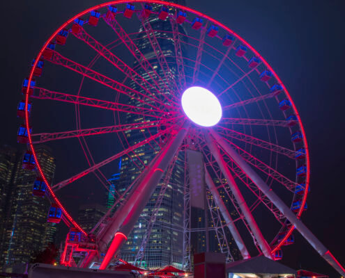 Hong Kong city by night skyscrapers wheel, Artur Rydzewski photography