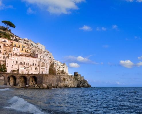 Amalfi, Italy, city on mountain, tree, sea