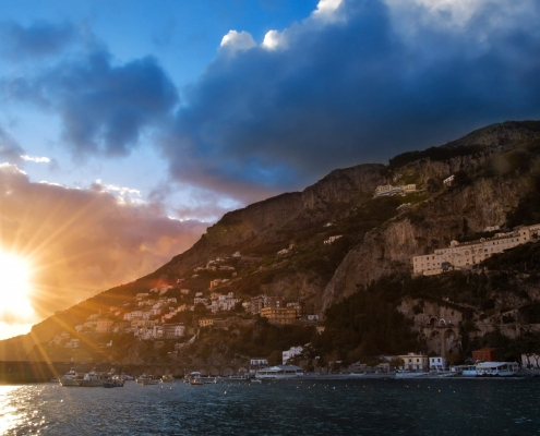 Amalfi, Italy, city on mountain, tree, sea, clouds, sunset sunrise