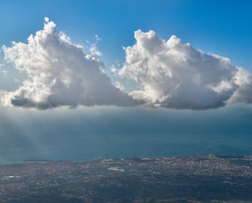 Naples, Napoli, Volcano Vesuvius, Wezuwiusz, clouds, cityscape, water, city