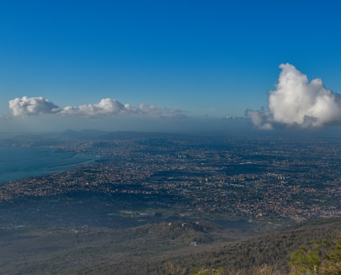 Naples, Napoli, Volcano Vesuvius, Wezuwiusz, clouds, cityscape from vesuvio, water, city