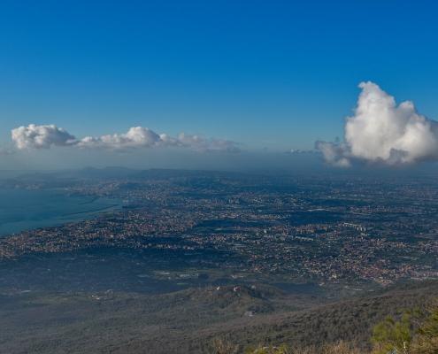Naples, Napoli, Volcano Vesuvius, Wezuwiusz, clouds, cityscape from vesuvio, water, city