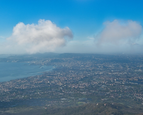 Naples, Napoli, Volcano Vesuvius, Wezuwiusz, clouds, cityscape from vesuvio, water, city blue sky and water