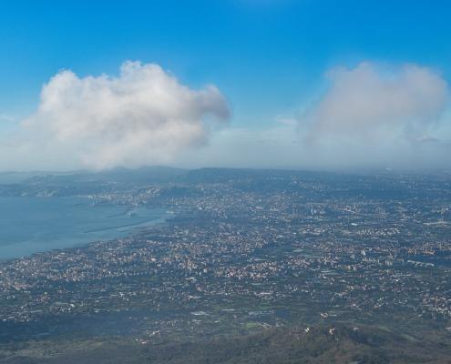 Naples, Napoli, Volcano Vesuvius, Wezuwiusz, clouds, cityscape from vesuvio, water, city blue sky and water