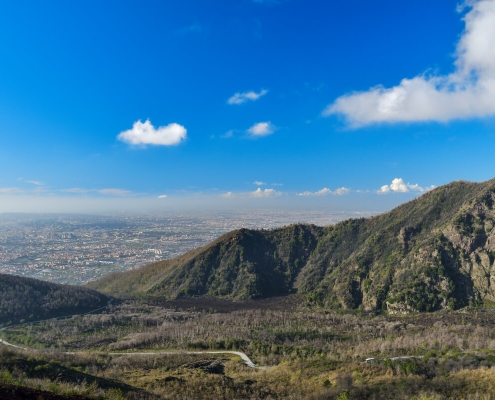 Naples, Napoli, Volcano Vesuvius, Wezuwiusz, clouds, cityscape from vesuvio, city, blue sky, hills, road