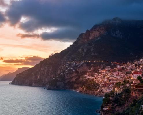 Positano, Italy, cityscape, city, evening, sky, sunset sunrise, hills, city on hills, mountain, sea, sorrento, amalfi