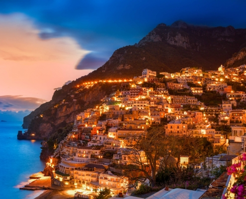 Positano, Italy, cityscape, city, evening, sky, sunset sunrise, hills, city on hills, mountain, sea, city by night, orange citysorrento, amalfi, flowers