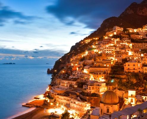 Positano, Italy, cityscape, city, evening, sky, sunset sunrise, hills, city on hills, mountain, sea, city by night, orange city, blue skysorrento, amalfi