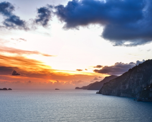 Sunset, sunrise, clouds, landscape, hills in Positano