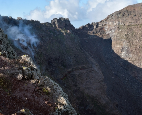 Volcano Vesuvius, Wezuwiusz, rock, smoke, volcano, crater, earth, high mountain