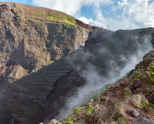 Volcano Vesuvius, Wezuwiusz, rock, smoke, volcano, crater, earth, high mountain, sky and clouds