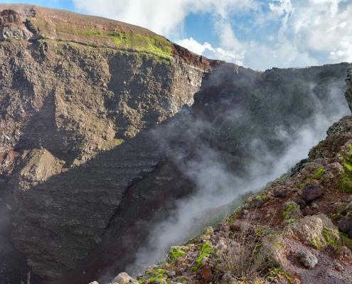 Volcano Vesuvius, Wezuwiusz, rock, smoke, volcano, crater, earth, high mountain, sky and clouds