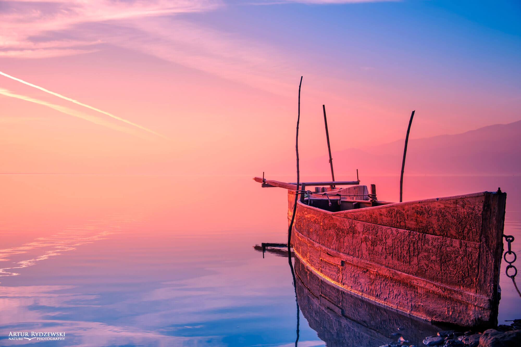 Old fishing boat, landscape, morning landscape