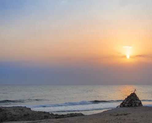 red sea, Egypt, sea, water, morning, sun, sky, orange, rocks, Artur Rydzewski