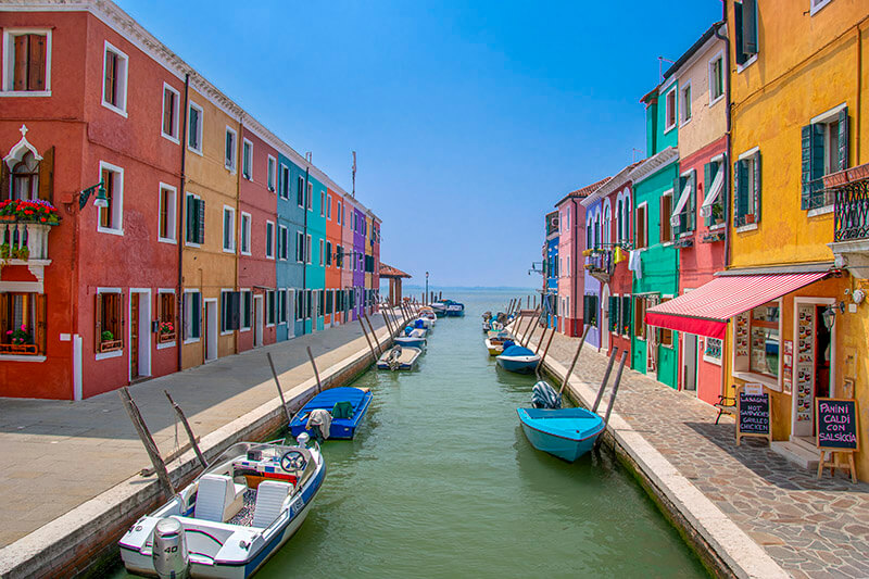 burano, italy fullcolor colrs city town houses boats water sky