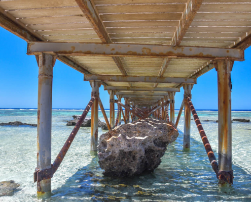 beach, sky, Africa, water, stone, beach, pier, blue sky