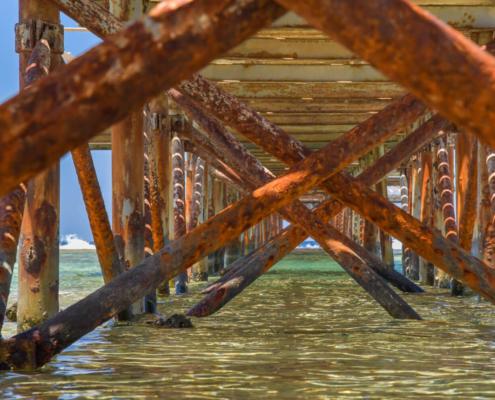 beach, sky, Africa, water, stone, beach, pier, blue sky, rusty, day, sunny day